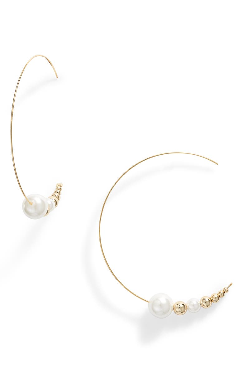 JULES SMITH Imitation Pearl Threader Hoop Earrings, Main, color, GOLD