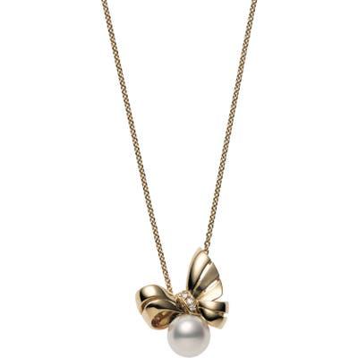 Mikimoto Ribbon Diamond & Pearl Pendant Necklace