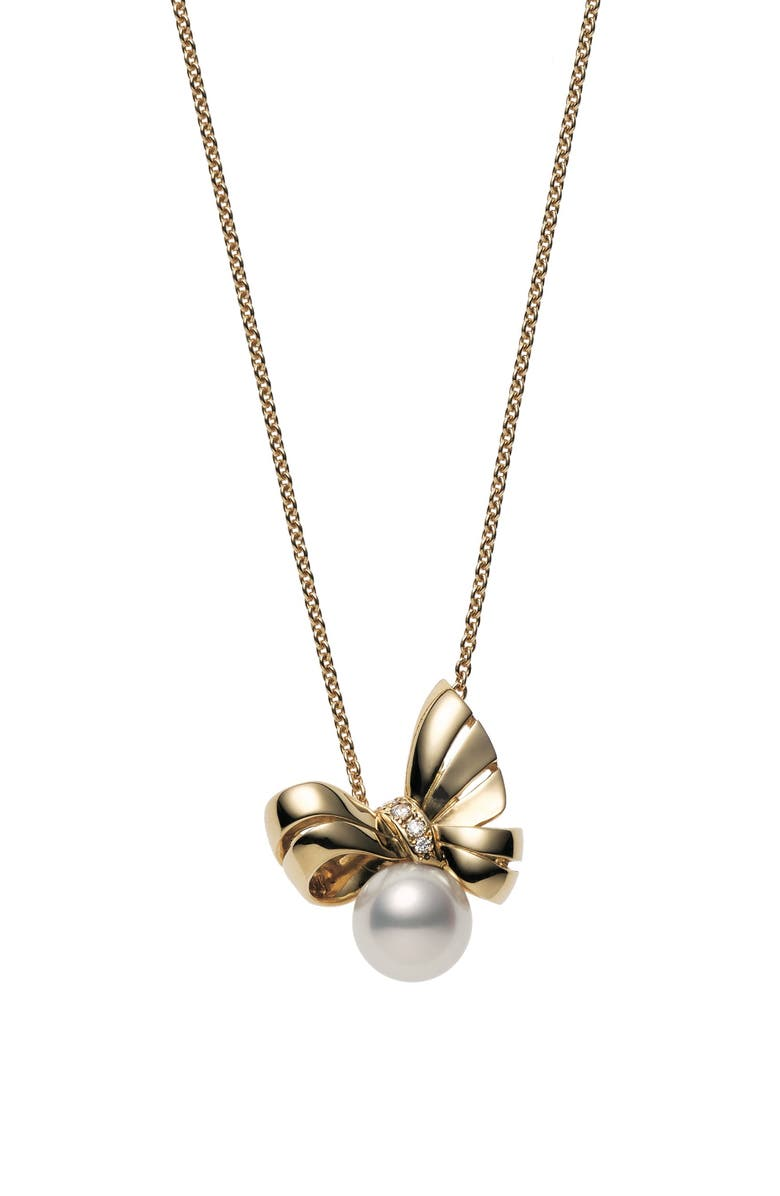 MIKIMOTO Ribbon Diamond & Pearl Pendant Necklace, Main, color, 710