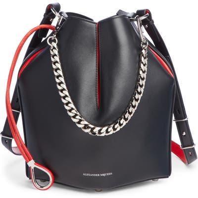 Alexander Mcqueen Bicolor Leather Bucket Bag - Black