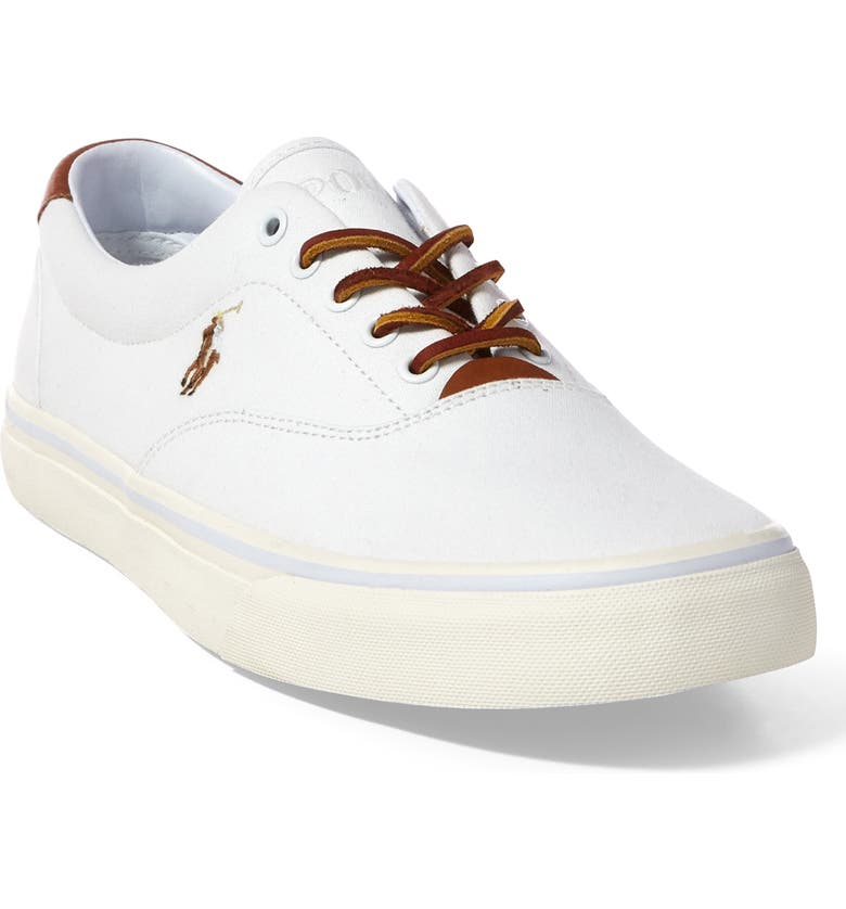 POLO RALPH LAUREN Thorton Low Top Sneaker, Main, color, WHITE CANVAS