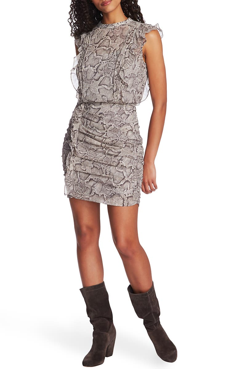 1.STATE Snake Print Ruffle Detail Ruched Minidress, Main, color, FEATHER GREY