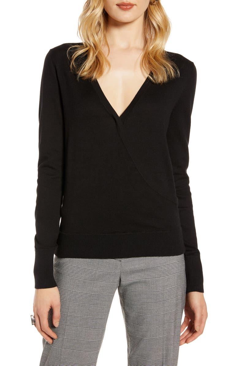 HALOGEN<SUP>®</SUP> Faux Wrap Sweater, Main, color, BLACK