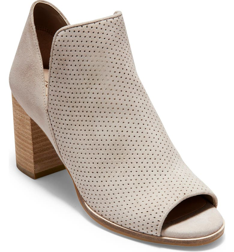 COLE HAAN Shiloh Open Toe Bootie, Main, color, STONE PERFORATED SUEDE