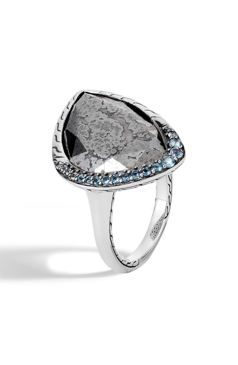 JOHN HARDY Classic Chain London Blue Topaz Ring, Main, color, SILVER/ BLUE TOPAZ