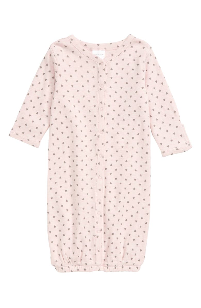 NORDSTROM BABY Convertible Gown, Main, color, PINK BABY HEATHER HEARTS