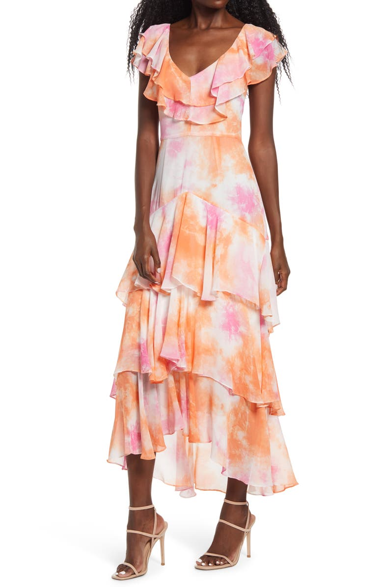WAYF Chelsea Tiered Ruffle Maxi Dress, Main, color, PASSION TIE DYE