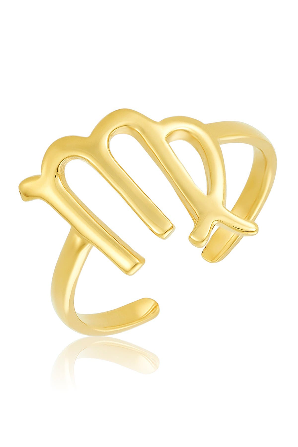 Image of Sterling Forever 14K Gold Vermeil Plated Sterling Silver Adjustable Zodiac Ring - Virgo