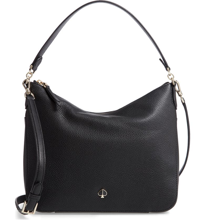 KATE SPADE NEW YORK medium polly leather shoulder bag, Main, color, BLACK