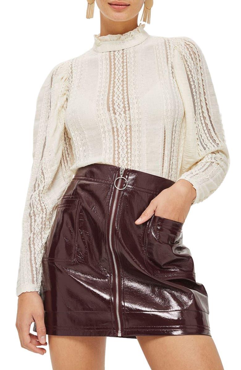 TOPSHOP Crinkle Lace Top, Main, color, 900