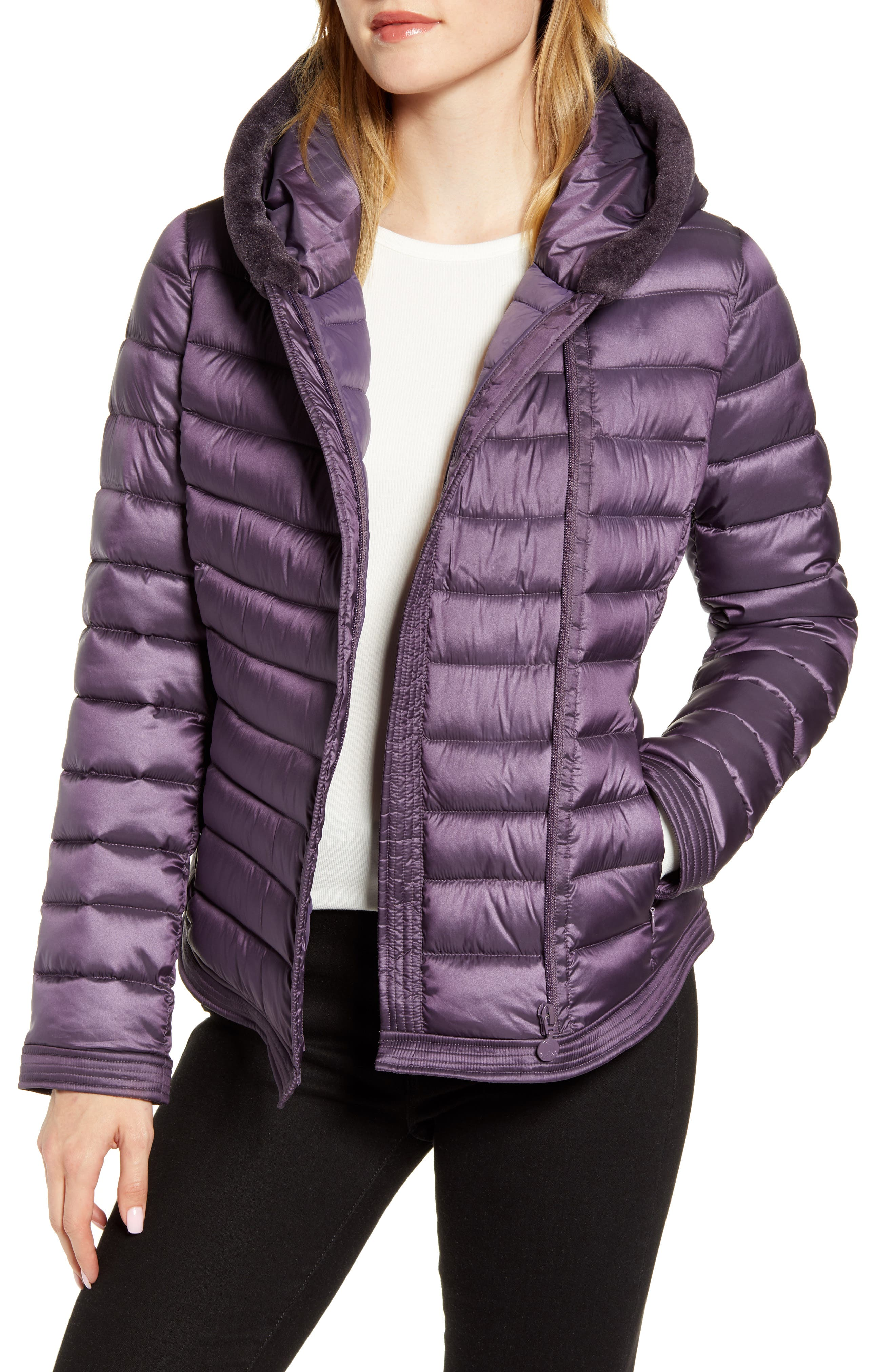 Bernardo Packable Puffer Jacket with Faux Fur Hood