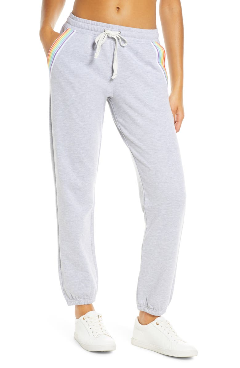 SOUL BY SOULCYCLE Rainbow Inset Sweatpants, Main, color, HEATHER GREY