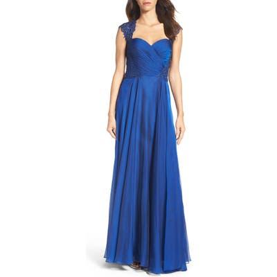 La Femme Ruched Chiffon A-Line Gown, Blue