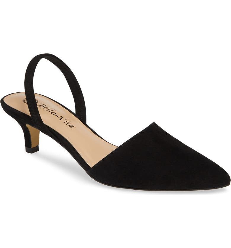 BELLA VITA Sarah II Slingback Pump, Main, color, BLACK SUEDE