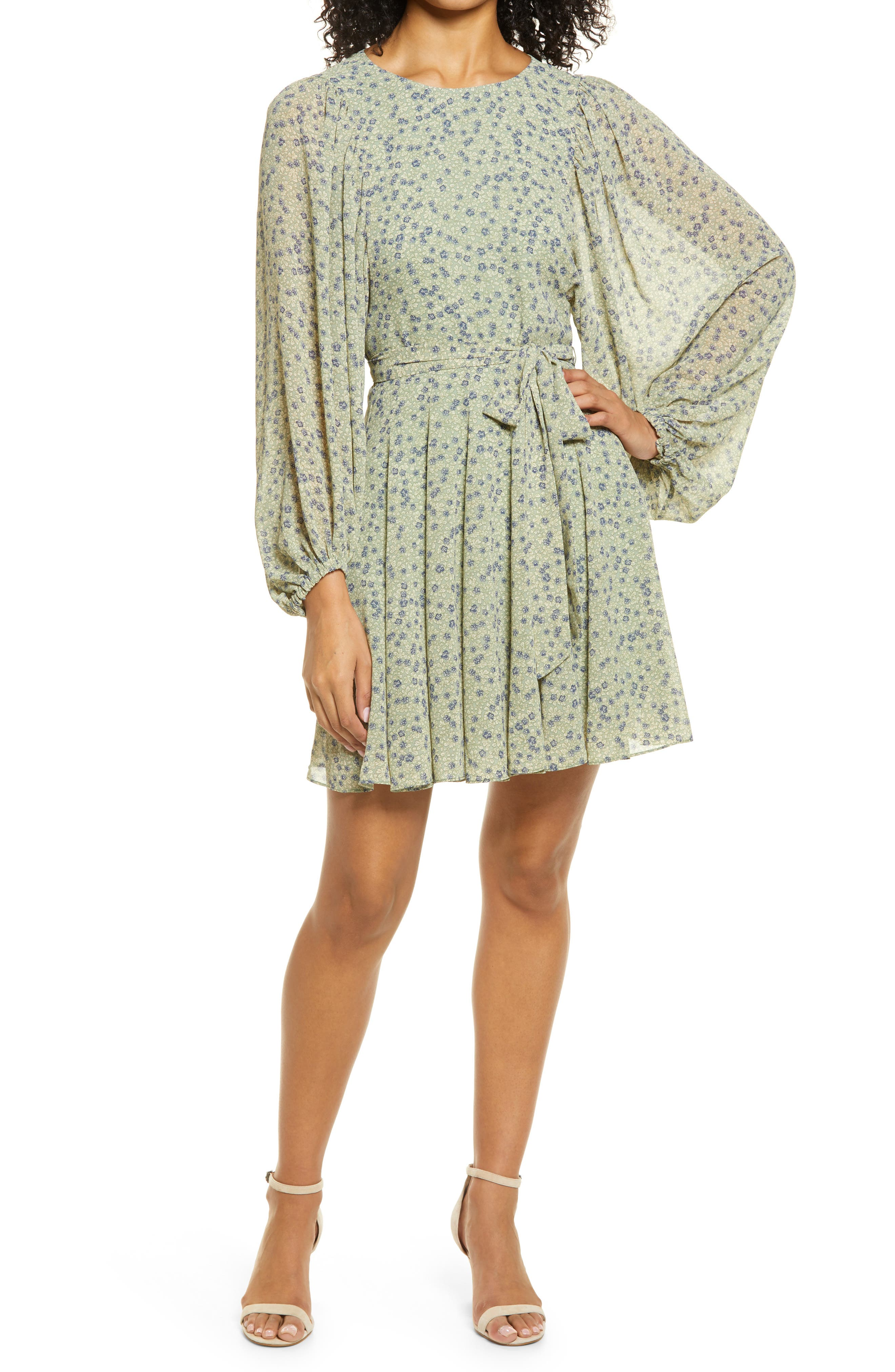 Godet Long Sleeve Minidress