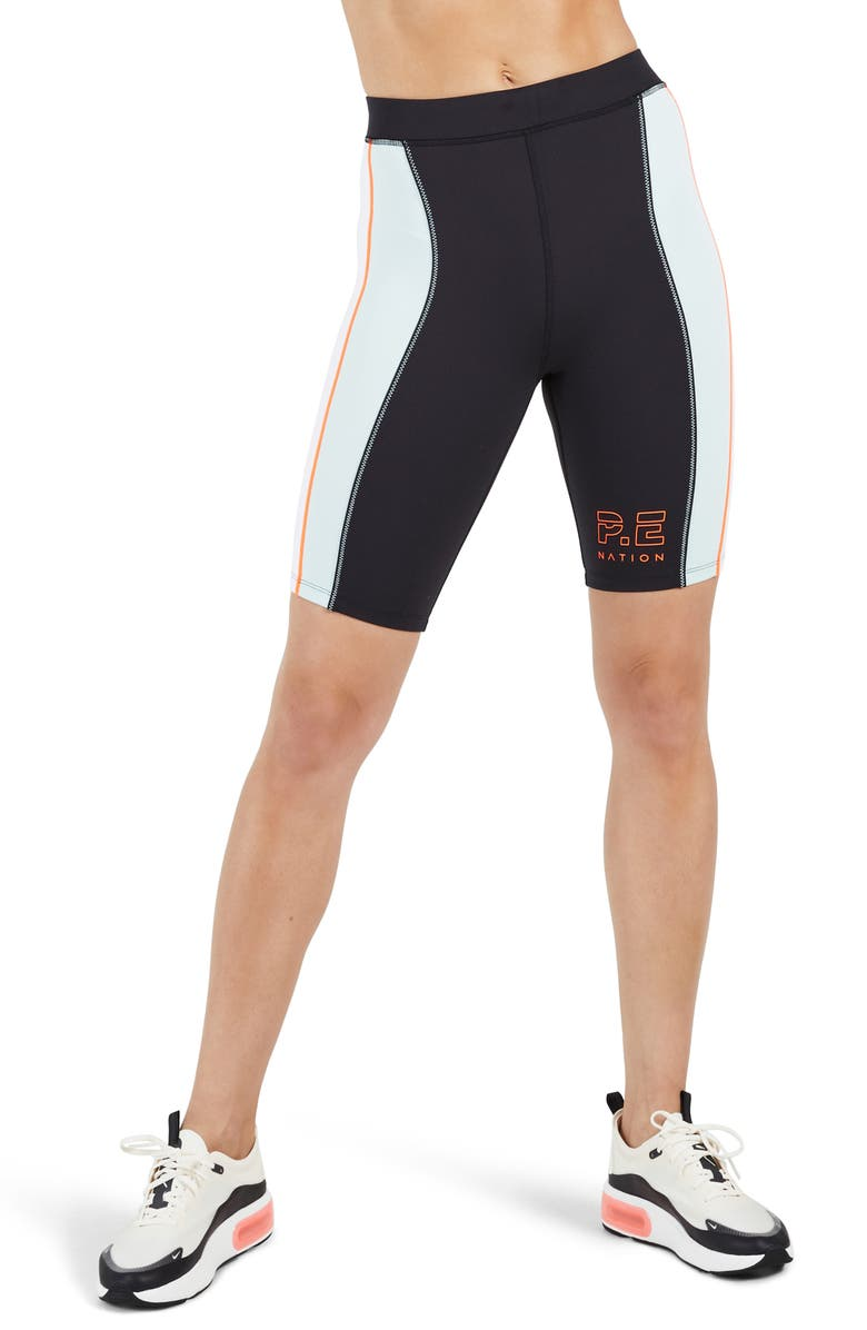 P.E NATION Camber Bike Shorts, Main, color, BLACK