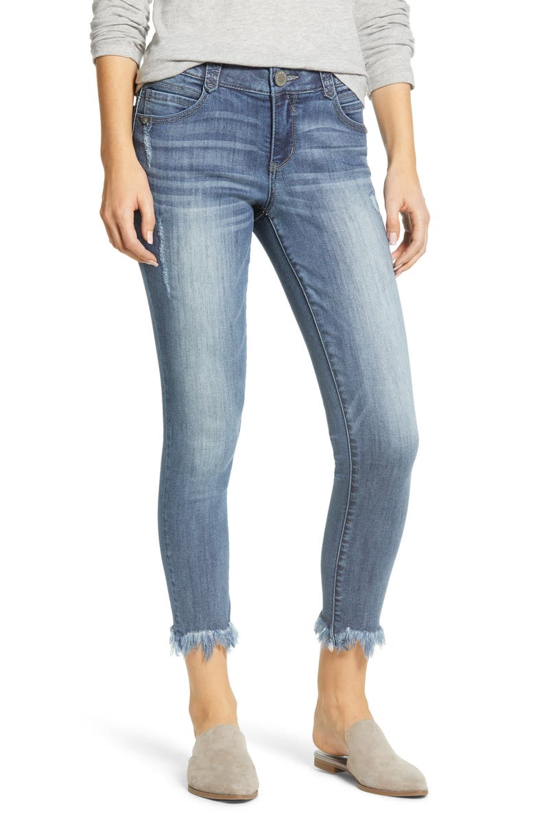WIT & WISDOM Ab-Solution Chewed Hem Ankle Skinny Jeans, Main, color, 420