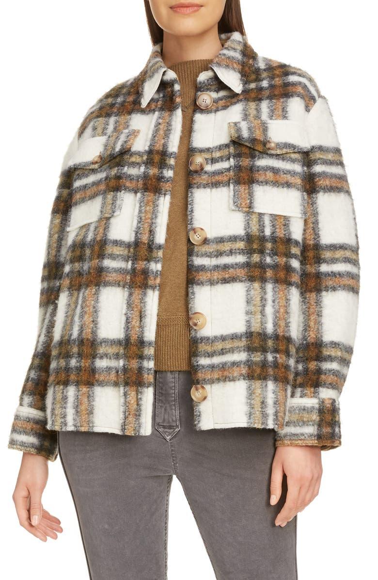 ISABEL MARANT ÉTOILE Plaid Shirt Jacket, Main, color, KHAKI/ ECRU