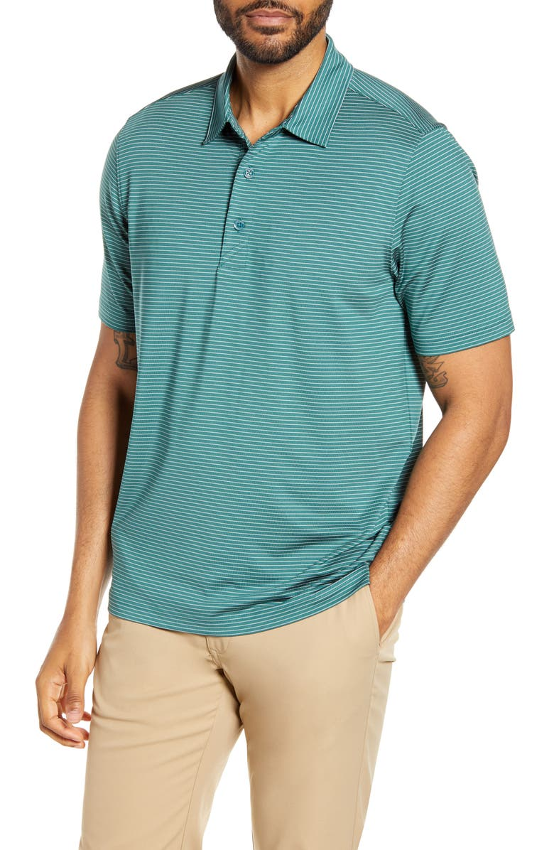 CUTTER & BUCK Forge Classic Fit Pencil Stripe Polo, Main, color, SEAWEED