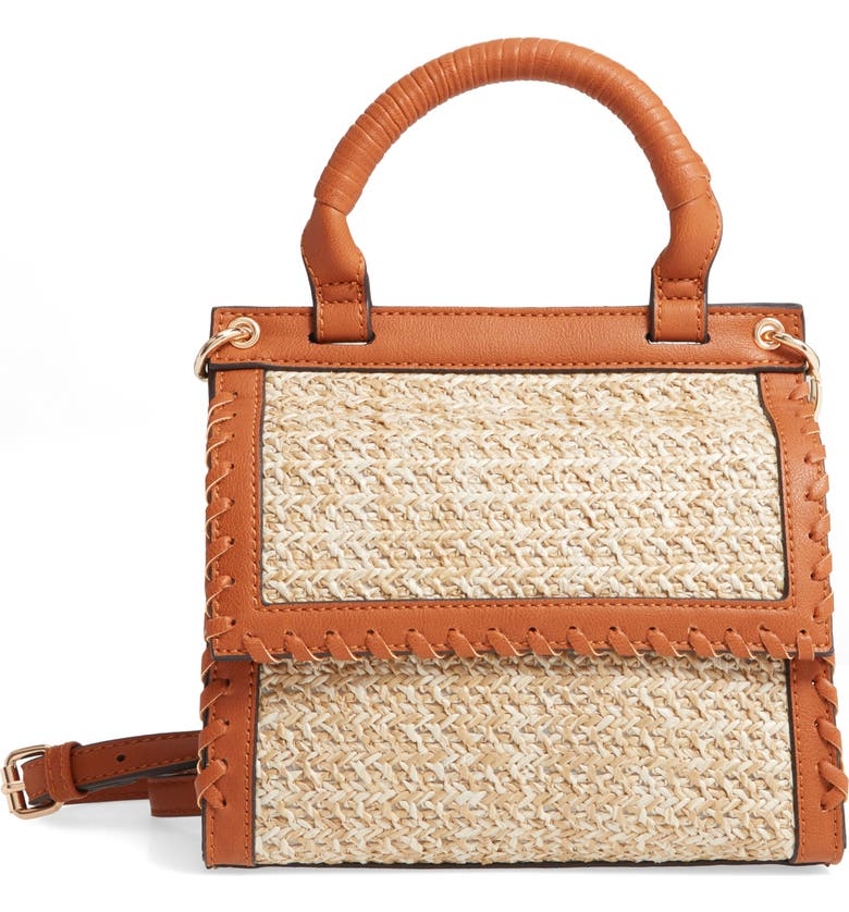 SOLE SOCIETY Deona Woven Crossbody Bag, Main, color, NATURAL
