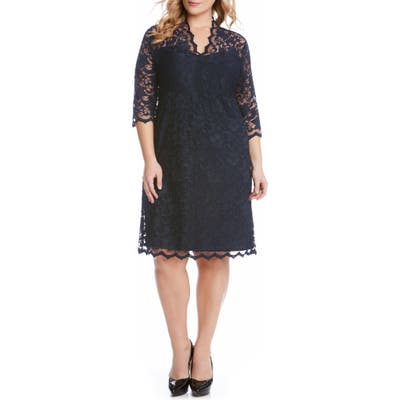 Plus Size Karen Kane Scalloped Stretch Lace Dress, Blue