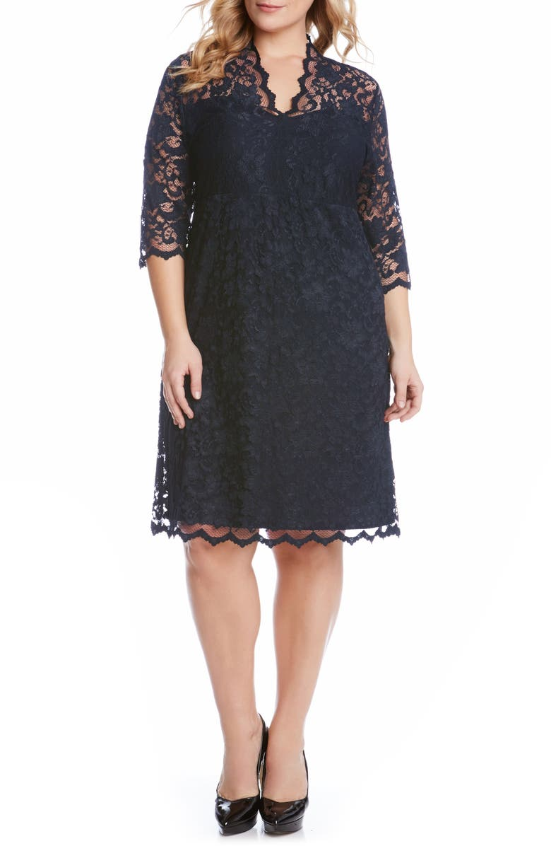 KAREN KANE Scalloped Stretch Lace Dress, Main, color, NAVY