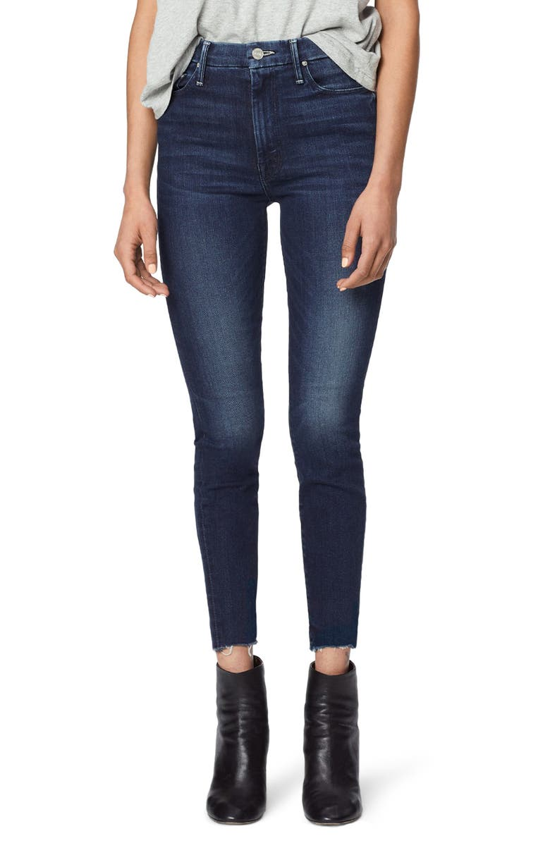 MOTHER The Looker High Waist Fray Ankle Skinny Jeans, Main, color, TONGUE AND CHIC