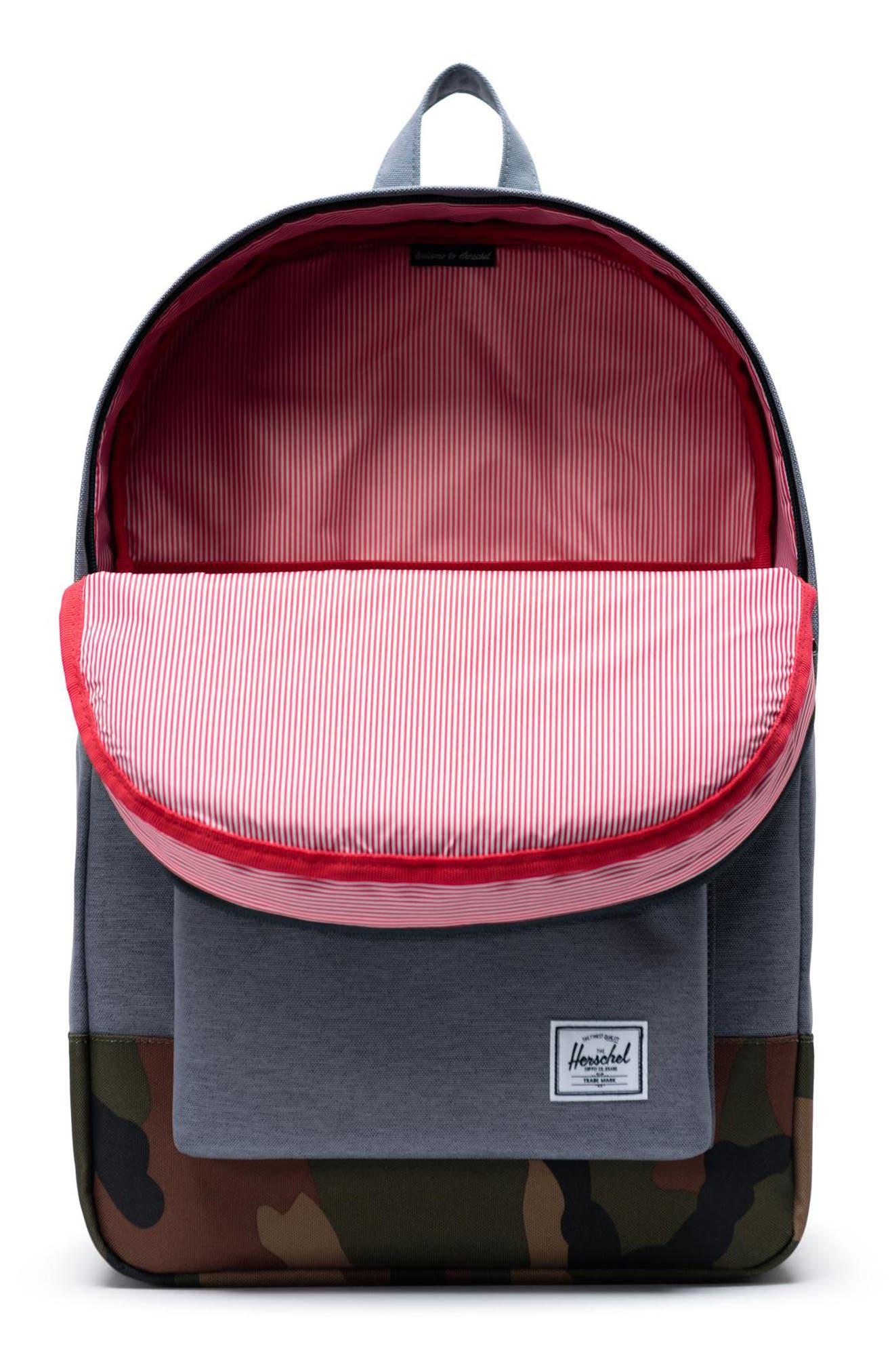 ,                             Heritage Camo Trim Backpack,                             Alternate thumbnail 5, color,                             GREY CROSSHATCH/WOODLAND CAMO