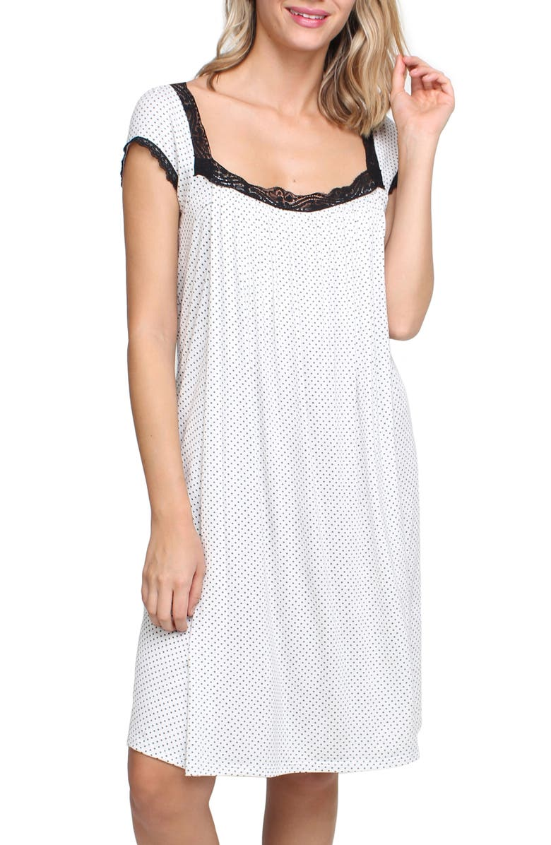 SAVI MOM Joliet Maternity/Nursing Nightgown, Main, color, BLACK POLKA DOT