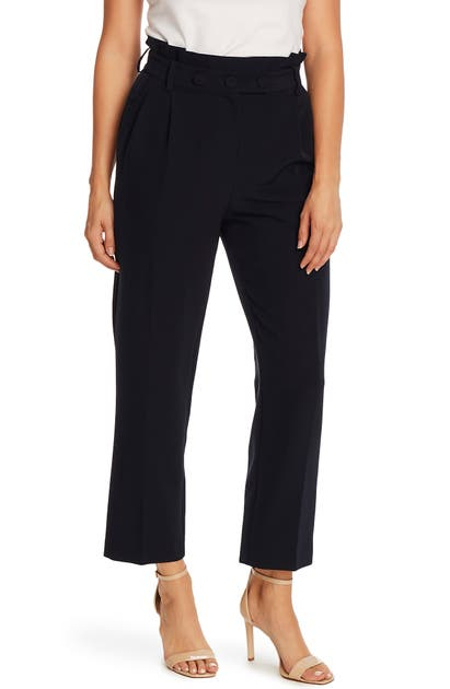 Vince Camuto Paperbag Waist Pleat Front Trousers In Night Navy