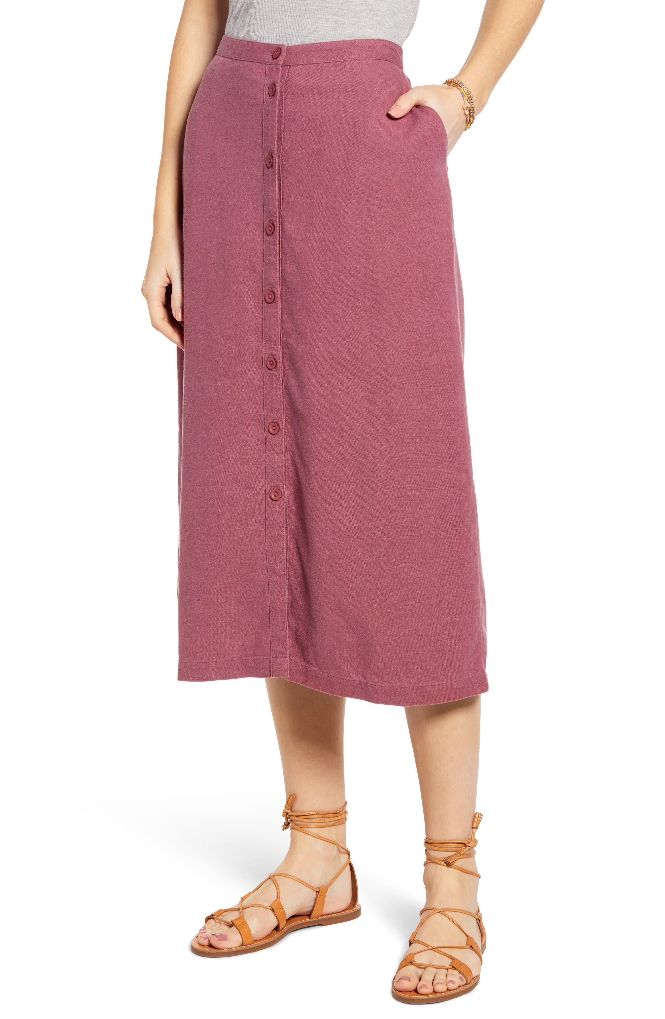 ,                             Button Front Linen Blend Midi Skirt,                             Main thumbnail 1, color,                             BURGUNDY CRUSH