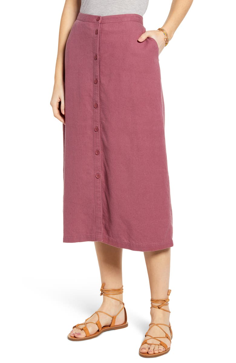 TREASURE & BOND Button Front Linen Blend Midi Skirt, Main, color, 938