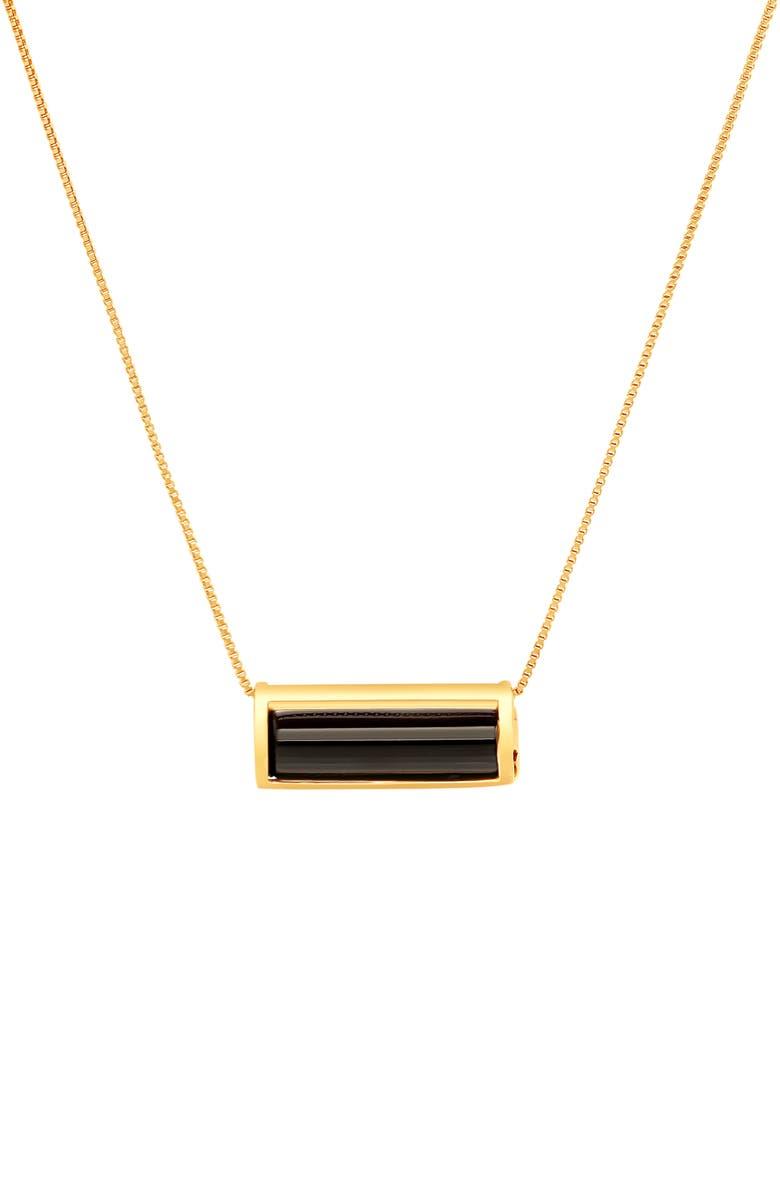 CONGÉS Protection Black Tourmaline Barrel Pendant Necklace, Main, color, YELLOW GOLD