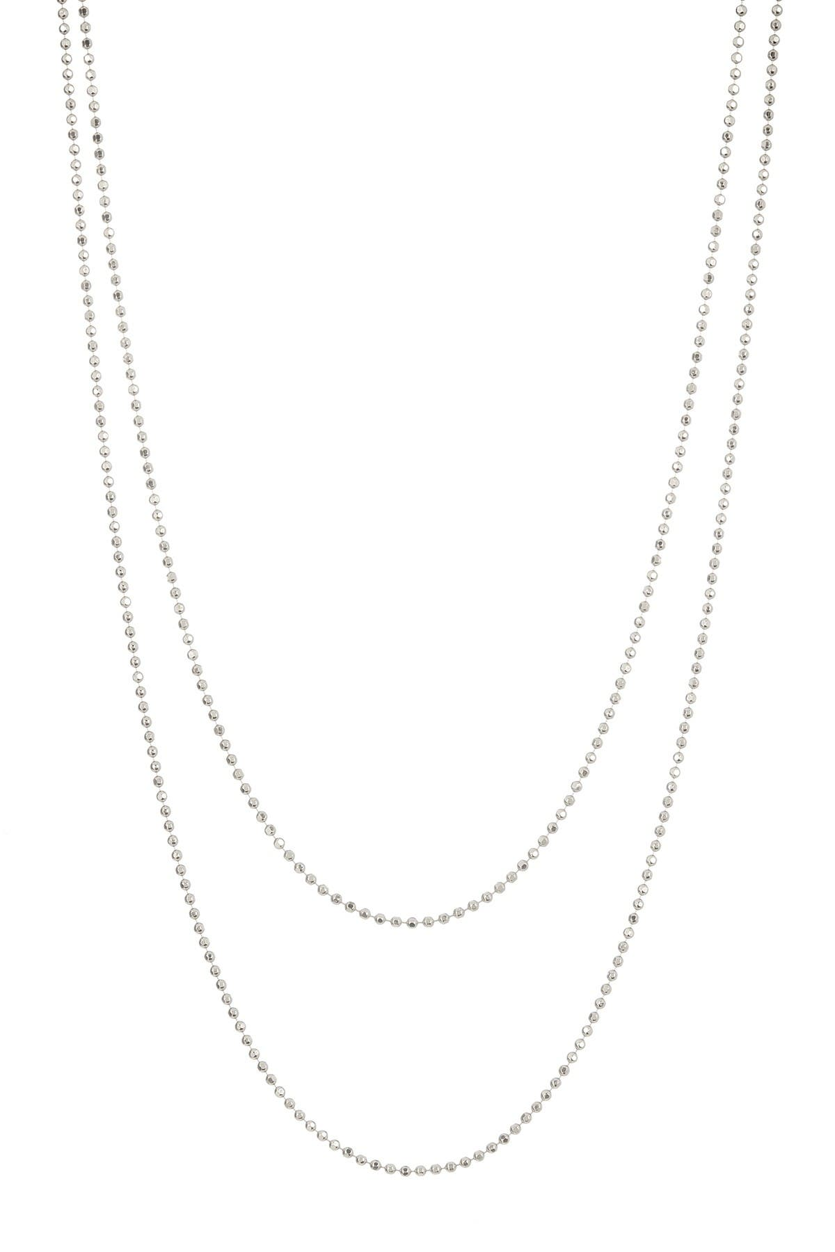 Image of Argento Vivo Sterling Silver Beaded Chain Link Necklace - Set of 2