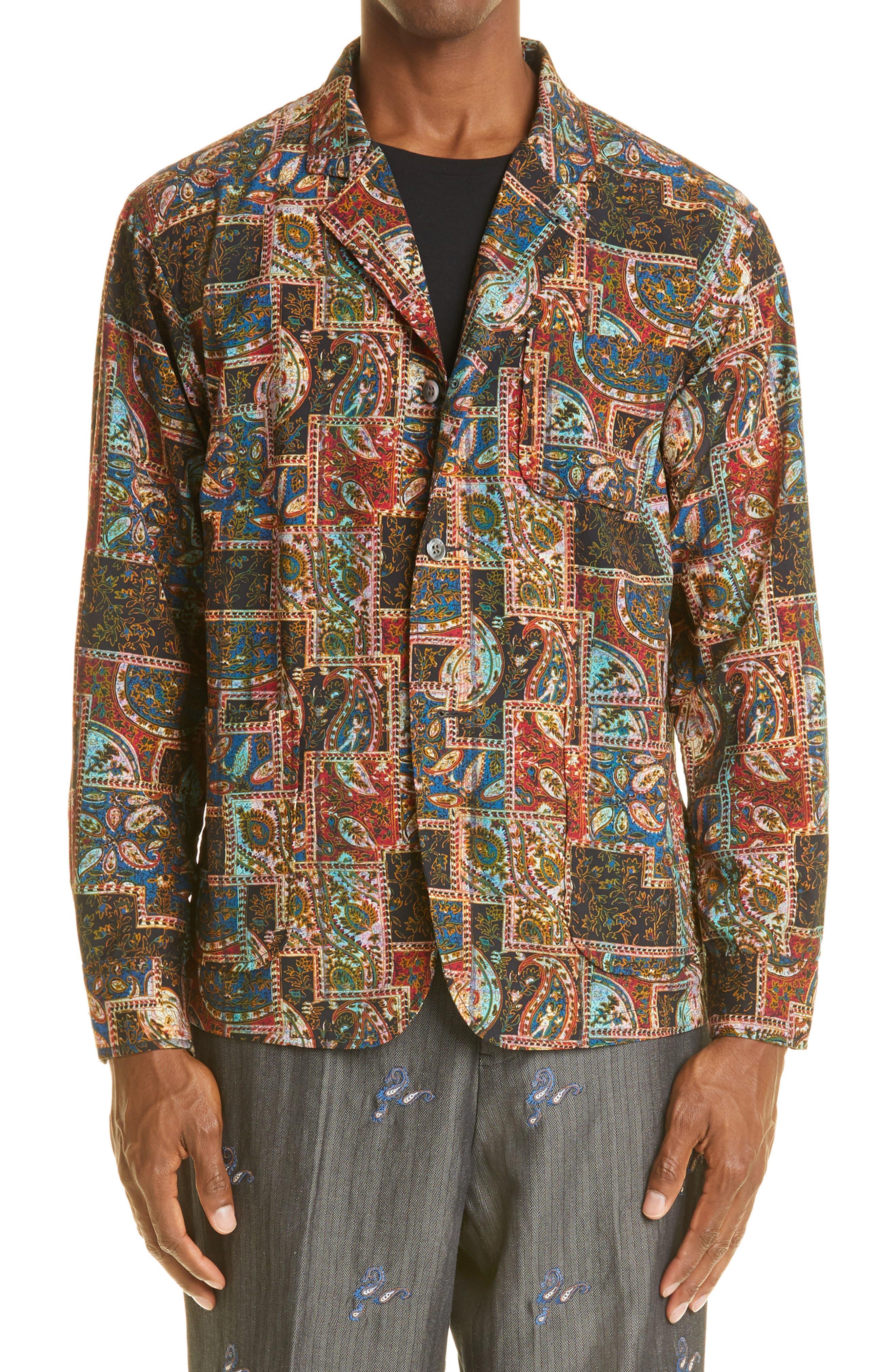 Paisley Patchwork Print Wool Sport Coat