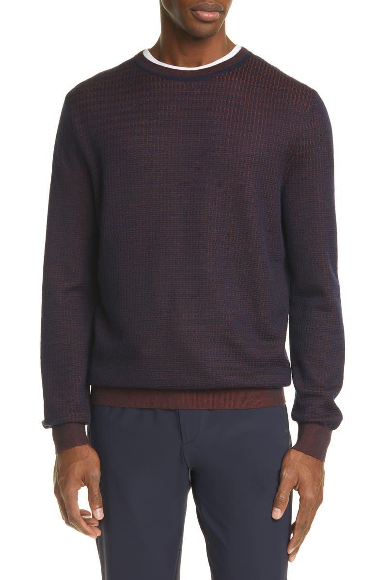 ERMENEGILDO ZEGNA Cashmere & Silk Crewneck Sweater, Main, color, NAVY