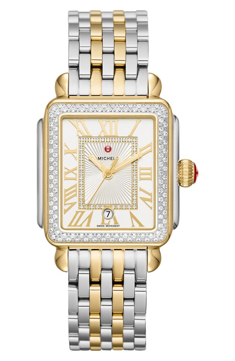 MICHELE Deco Madison Diamond Dial Watch Head & Two-Tone Bracelet, 33mm, Main, color, GOLD/ SILVER
