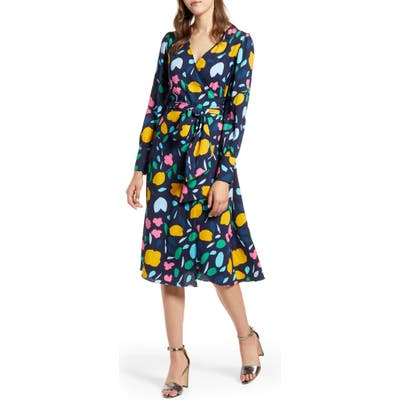 Petite Halogen Long Sleeve Wrap Midi Dress, Blue