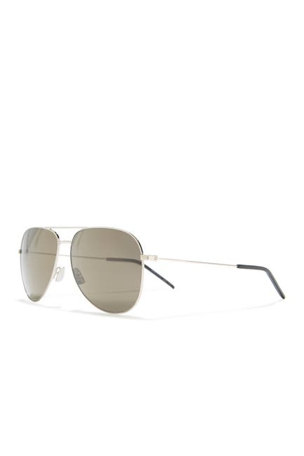 Image of Saint Laurent 61mm Aviator Sunglasses