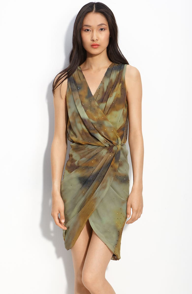 HAUTE HIPPIE Sequin Silk Wrap Dress, Main, color, 302