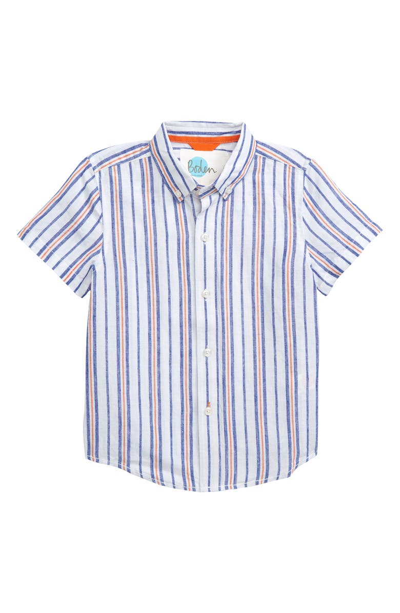 Mini Boden Fun Stripe Woven Shirt (Toddler Boys, Little Boys & Big