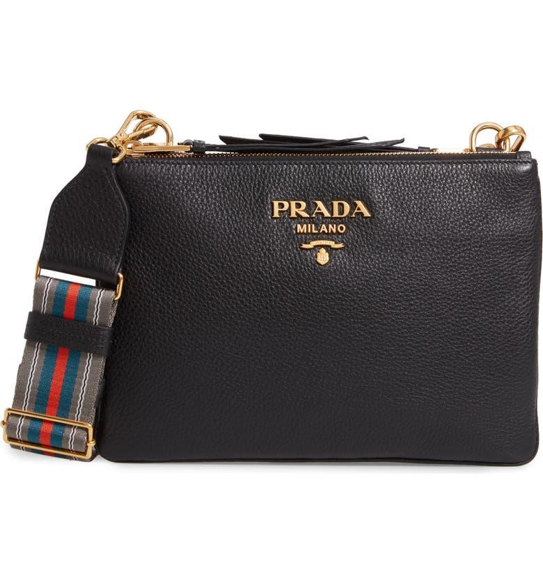PRADA Vitello Daino Double Compartment Leather Crossbody Bag, Main, color, NERO
