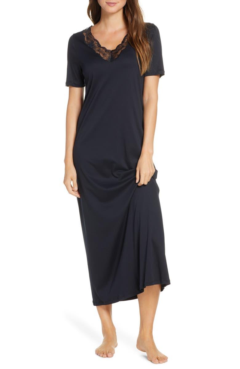 HANRO Valencia Lace Trim Nightgown, Main, color, BLACK