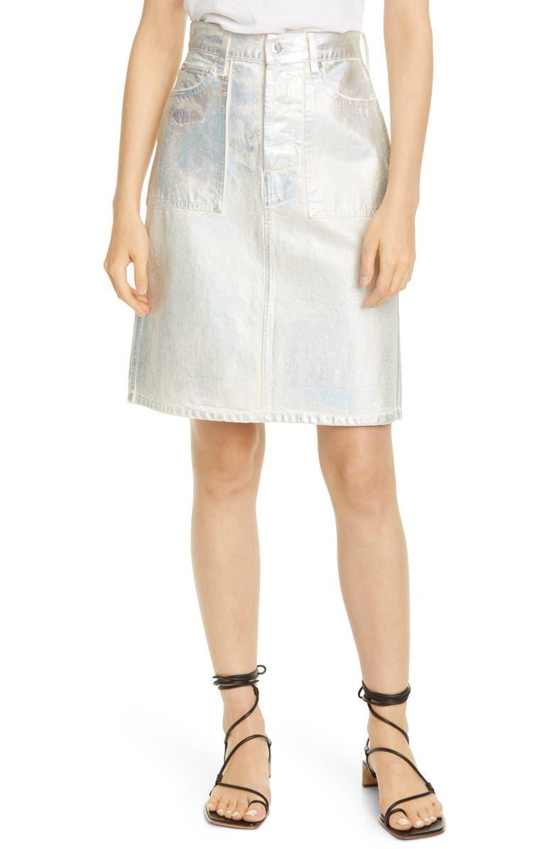 HELMUT LANG Factory Metallic Denim Skirt, Main, color, 020