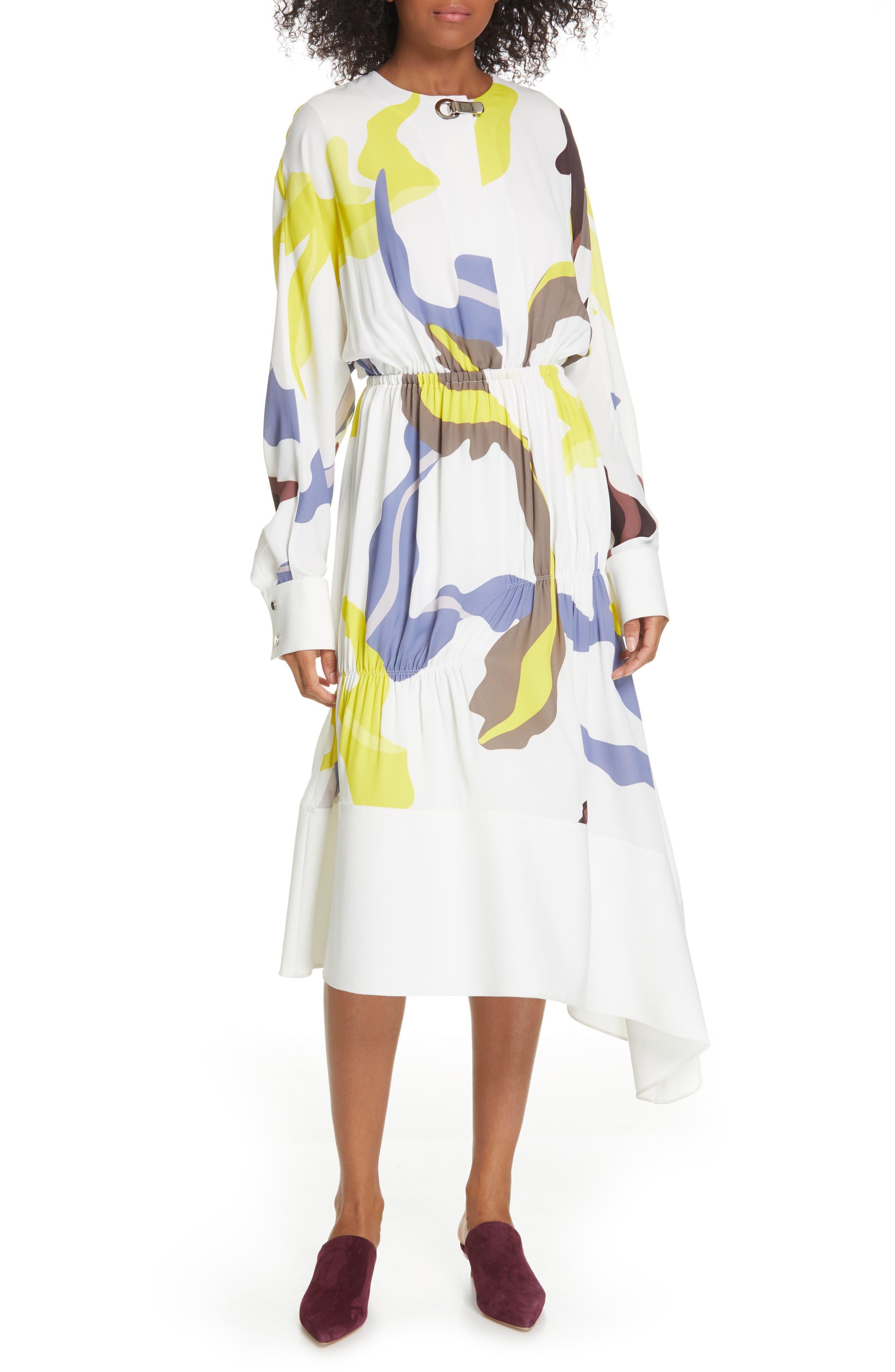 Tibi Ant Farm Print Long Sleeve Midi Dress, White