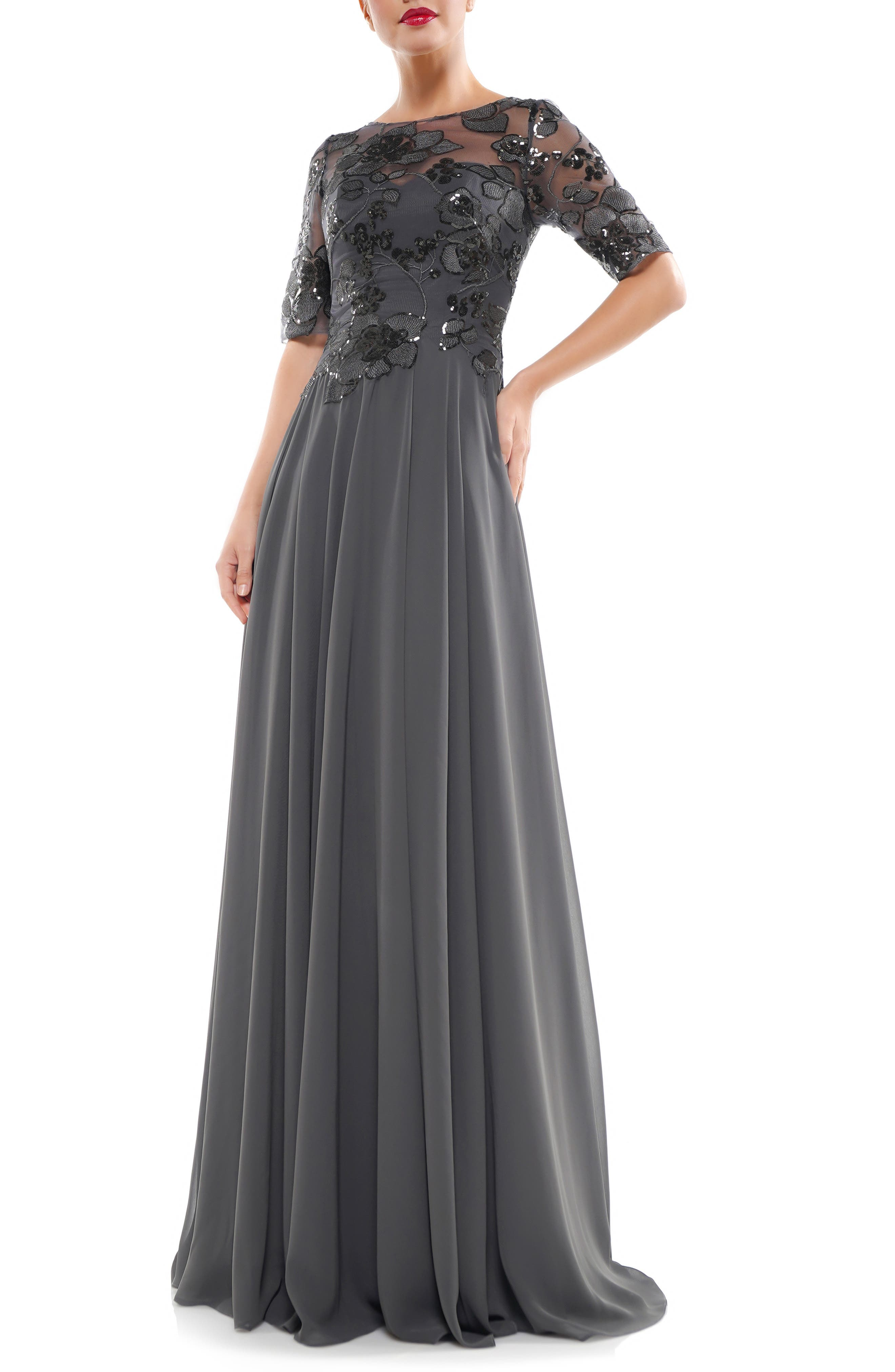 MARSONI Sequin Embroidered Chiffon Gown
