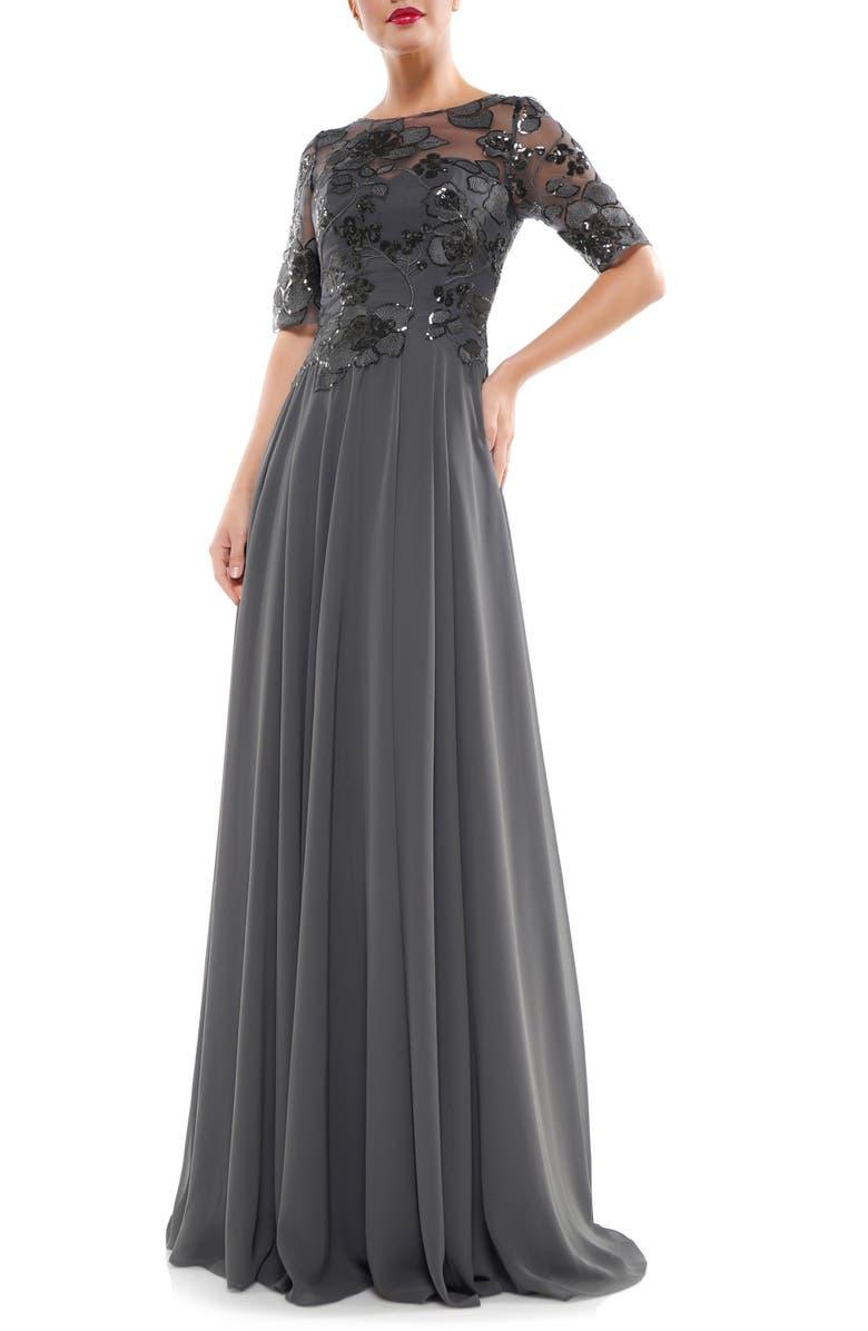MARSONI Sequin Embroidered Chiffon Gown, Main, color, 020