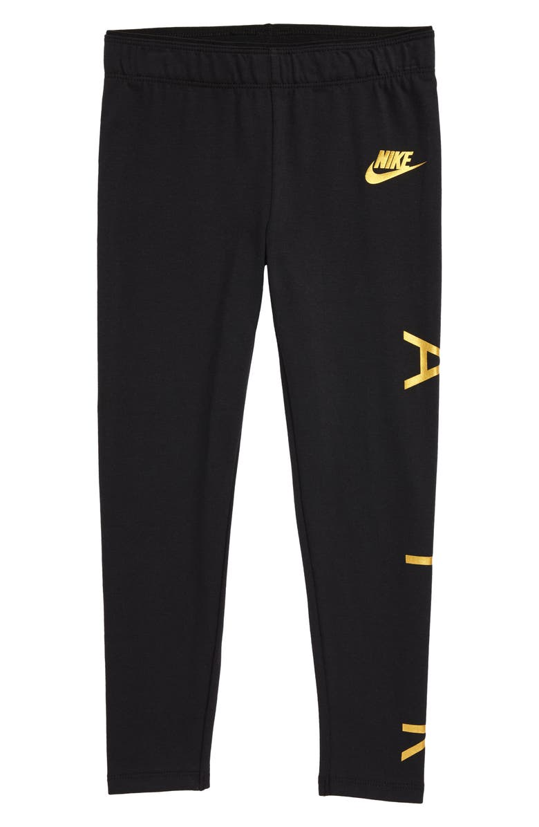NIKE Air Leggings, Main, color, BLACK GOLD