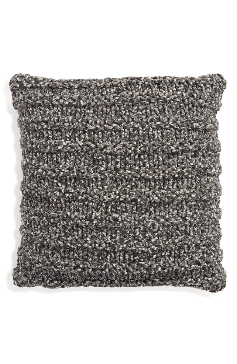 TREASURE & BOND Jersey Rope Pillow, Main, color, GREY ONYX SPACEDYE