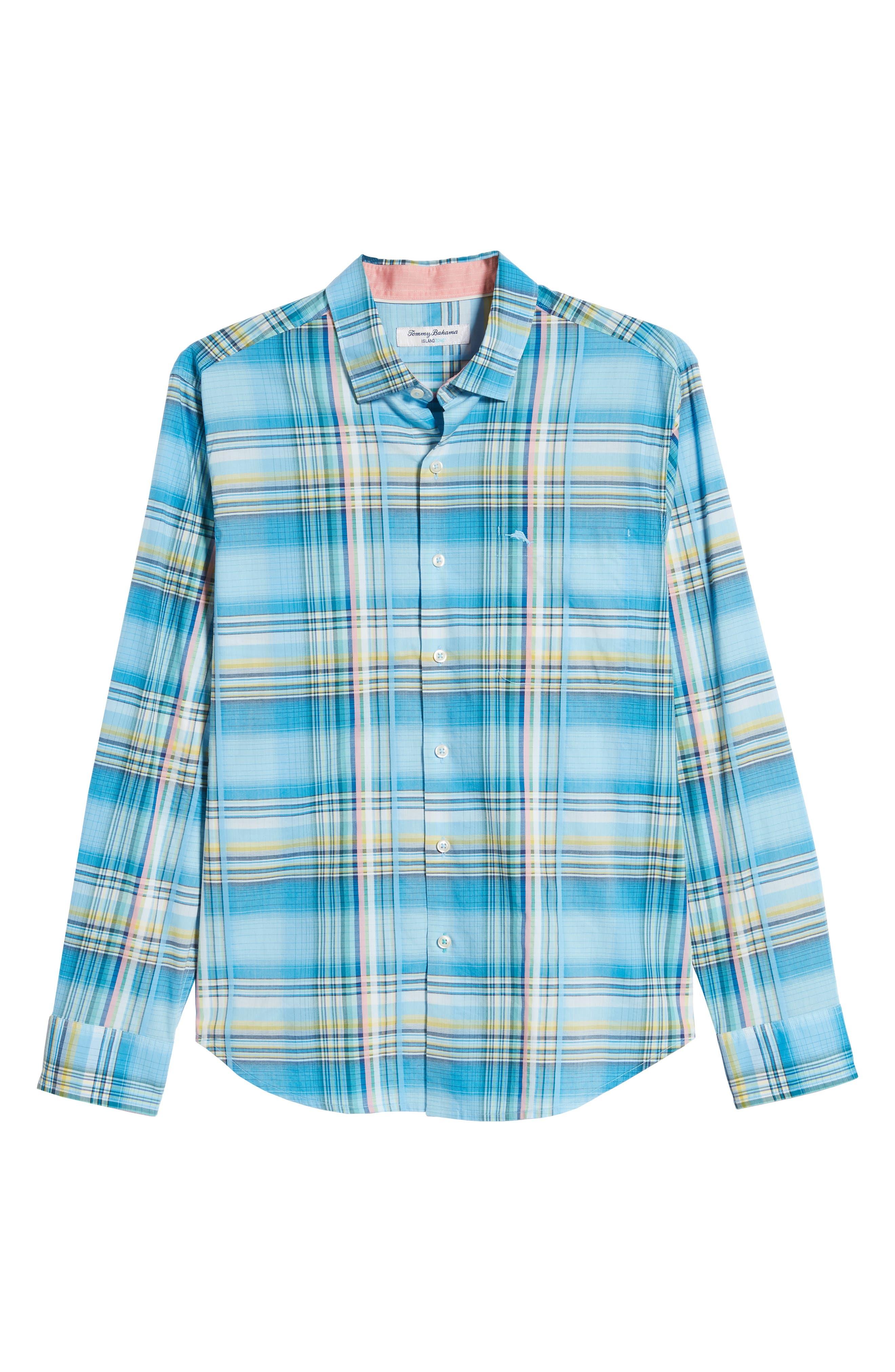 ,                             Palau Classic Fit Plaid Sport Shirt,                             Alternate thumbnail 5, color,                             BEACH HUT BLUE